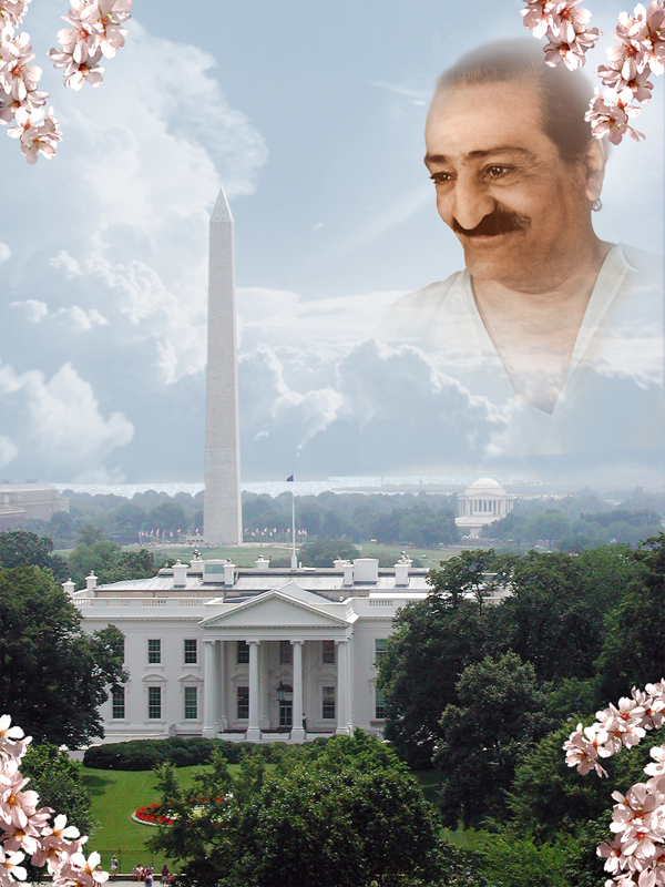 Baba's smiling face looking down from the sky upon Washington DC Capital building